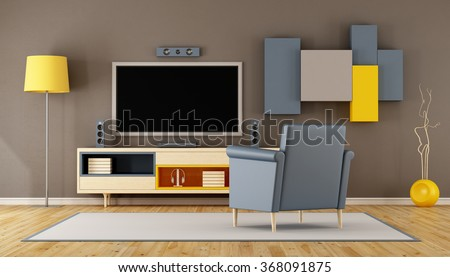 Modern living room room with TV,wall unit and blue armchair - 3D Rendering - stock photo