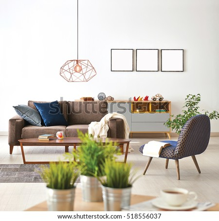 Modern Living Room Sofa Armchair Vase Stock Photo (Download Now) 518556037    Shutterstock