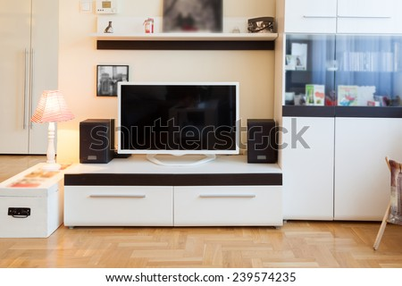 Modern living room - TV and speakers - ambient light, enhanced colors