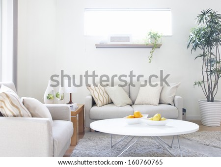 modern living room white sofa - stock photo