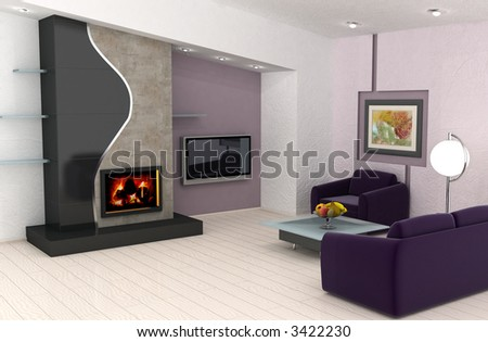 Modern living room with a fireplace. - stock photo