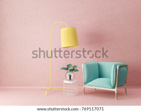 Modern Living Room Armchair Lamp Scandinavian Stock Illustration ...