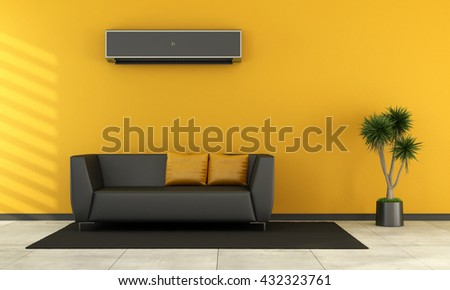 Modern living room with black couch and air conditioner on wall - 3d rendering - stock photo