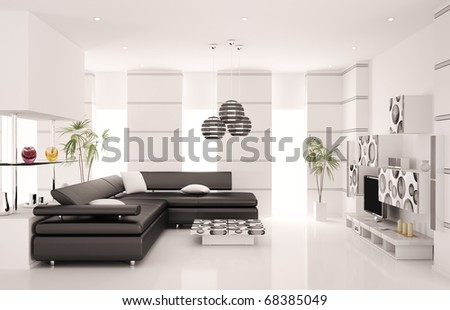 Modern living room with black sofa and LCD interior 3d render - stock photo