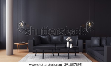 Modern  living room with black wall / 3d render image - stock photo