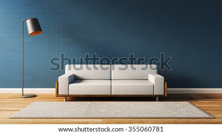 Modern  living room with blue wall / 3D render image