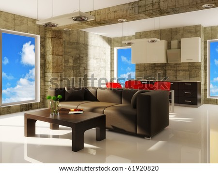 modern living  room with brown sofa - stock photo