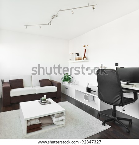 living room computer desk. Modern living room with computer desk and the screen  sofa table white carpet Living Room Computer Desk Screen Stock Photo 92358796