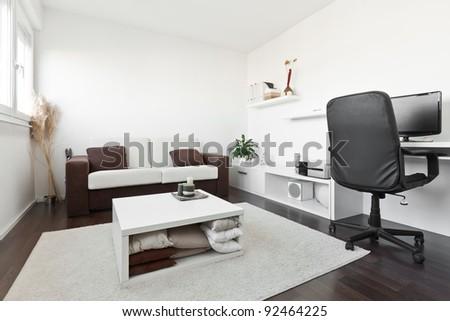Modern Living Room Computer Desk Screen Stock Photo