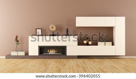 Modern living room with decorative fireplace - 3D Rendering