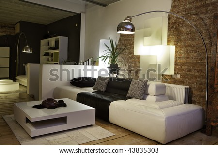 modern living room with design furniture - stock photo