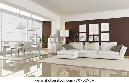 modern living room with dining space - rendering - stock photo