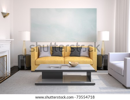 Modern living-room with fireplace. 3d render. - stock photo