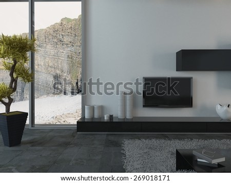 Modern Living Room with Flat Screen Television and House Plant and View of Cliffs Through Window. 3d Rendering. - stock photo