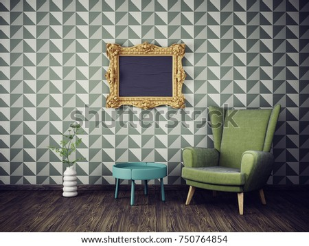Genial Modern Living Room With Green Armchair. Eclectic Interior Design Furniture.  3d Render Illustration