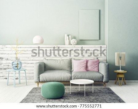 Modern Living Room With Grey Sofa And Lamp Scandinavian Interior Design Furniture 3d Render