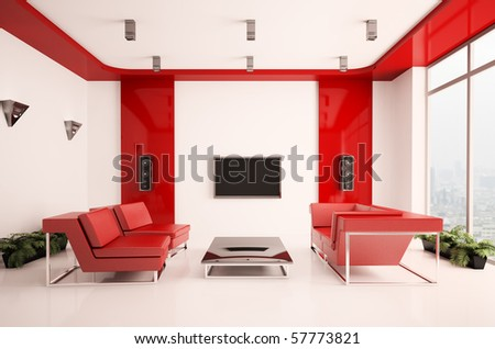 Modern living room with lcd interior 3d - stock photo