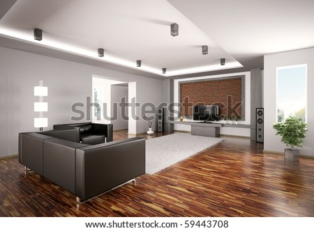 Modern Living room with lcd interior 3d render - stock photo