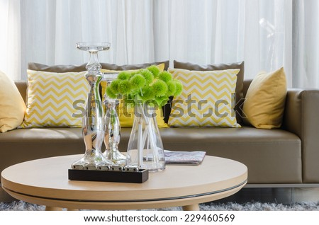 modern living room with modern sofa in living room at home - stock photo