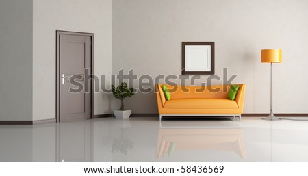 modern living room with orange couch and wooden door - rendering - stock photo