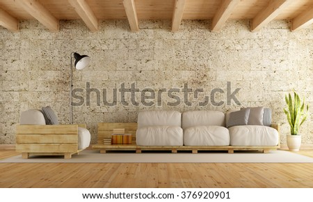 Modern living room with pallet sofa,stone wall and wooden ceiling - 3D Rendering - stock photo