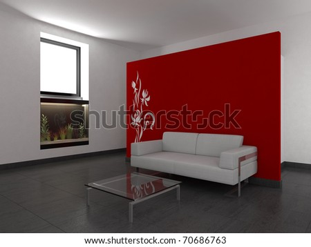 modern living room with red wall - stock photo