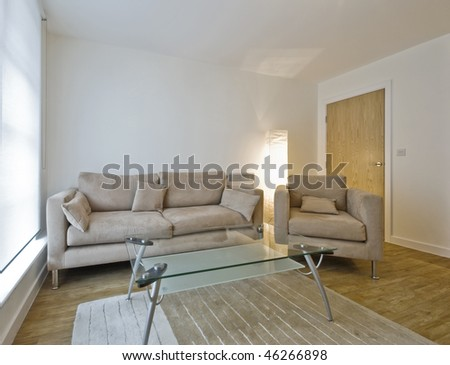 modern living room with sofa and armchair