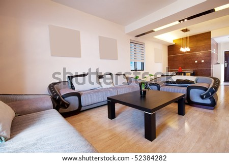 modern living room with sofa and table.