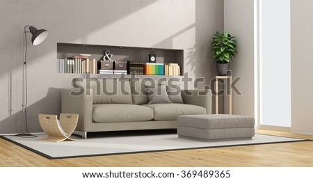 modern living room with sofa, footstool and niche with books and objects - 3D Rendering - stock photo