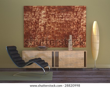 Modern living room with standing lamp, recliner, and sideboard (3D render) - stock photo