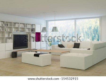 Modern living room with stylish white furniture - stock photo