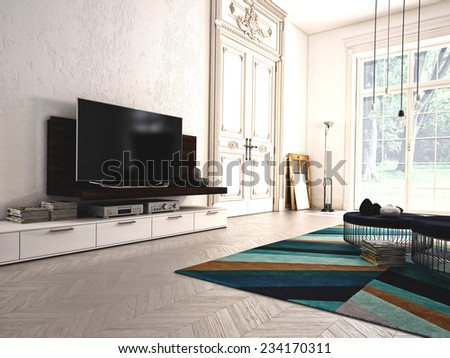 Modern living-room with TV and hifi equipment. 3d rendering - stock photo