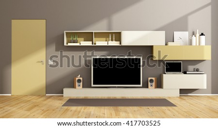 Modern living room with wall unit, tv set and closed door - 3d rendering