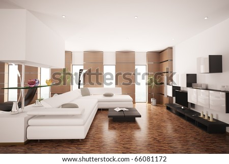 Modern living room with white sofa and LCD interior 3d render