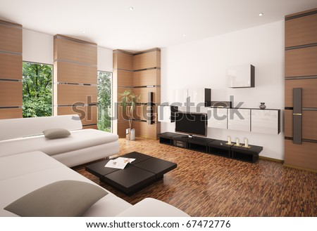 Modern living room with white sofa black table and LCD interior 3d render - stock photo