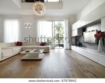 modern living room with  wood floor - stock photo