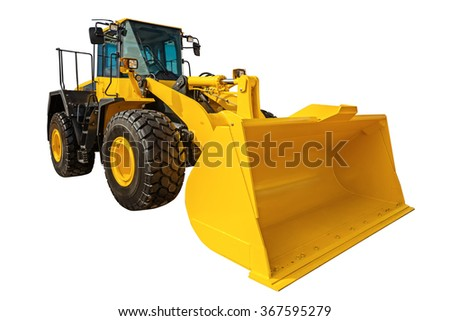 Modern Loader excavator construction machinery equipment with clipping path isolated on white background - stock photo
