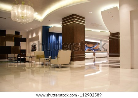 Modern lobby for five stars hotel