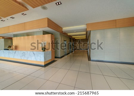 Modern lobby, hallway of the luxury hotel, business center, shopping mall in Vancouver, Canada. Interior design. - stock photo