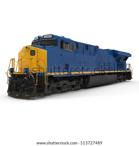 Modern locomotive isolated on white. 3D illustration