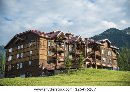 Modern lodge located in a ski resort - stock photo