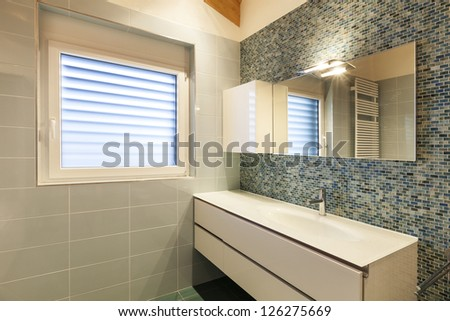 modern loft, bathroom view - stock photo