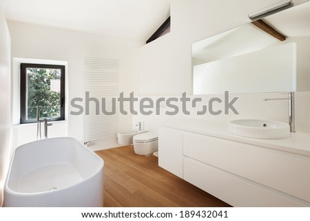 modern loft, bathroom with bathtub - stock photo