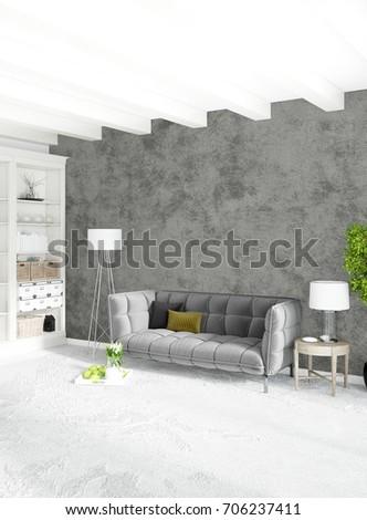 Modern Loft Interior Bedroom Living Room Stock Illustration ...
