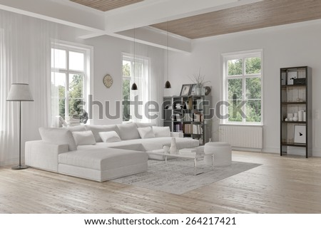 Modern loft living room interior with monochromatic white decor, a comfortable modular lounge suite and rug and accent bookcases with structural ceiling beams.  3d Rendering - stock photo