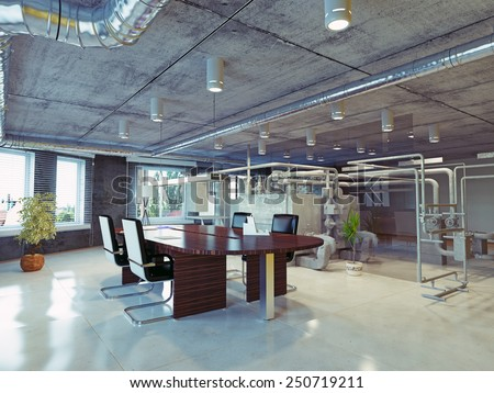 Modern Loft Office Interior 3d Design Concept