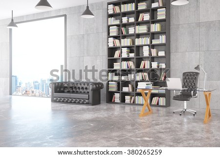 Modern loft personal office with chesterfield sofa, glassy table, big bookcase and big window with city view 3D Render - stock photo