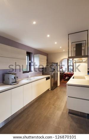 modern loft, view of the kitchen - stock photo