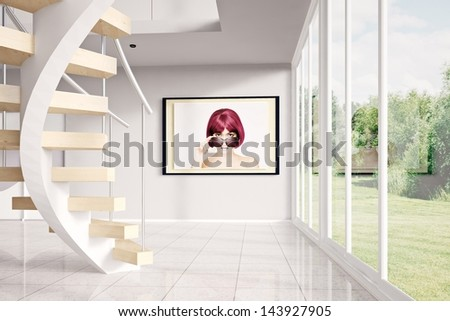 Modern loft with image and green exterior - stock photo