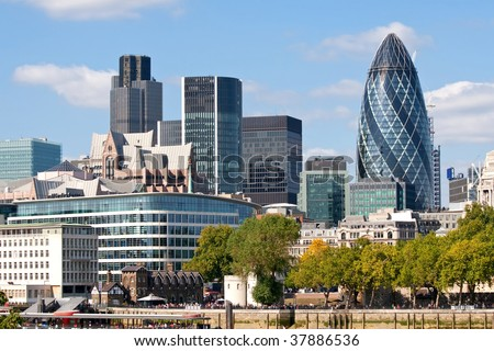 Modern London city skyline along River Thames